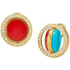 Wendy Brandes Mechanical Swivel Turquoise, Carnelian, Diamond and Gold Earrings