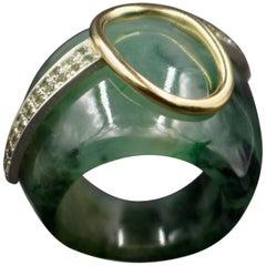 Janis Kerman, Jade Ring, Sterling Silver, 18 Karat Gold, Jade, Peridot