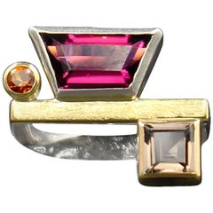 Janis Kerman Garnett Citrine  Quartz Ring