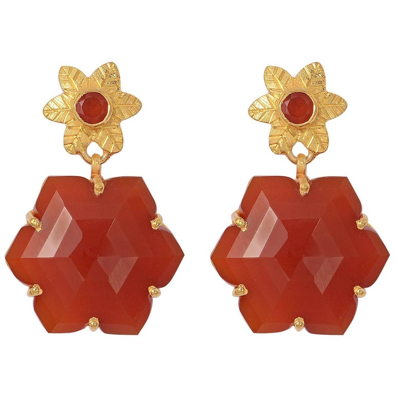 Emma Chapman Carnelian Drop Gold Plate Earrings