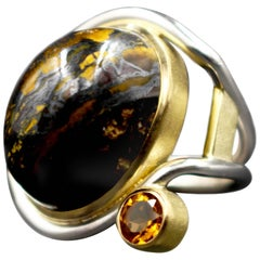 Janis Kerman Tigers Eye and Citrine Ring