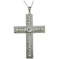 Platinum Diamond Cross Necklace circa 1930s 5.00 Carat