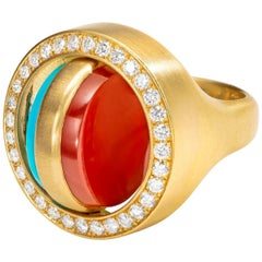Wendy Brandes Mechanical 2-in-1 Turquoise, Carnelian, Diamond & Gold Signet Ring