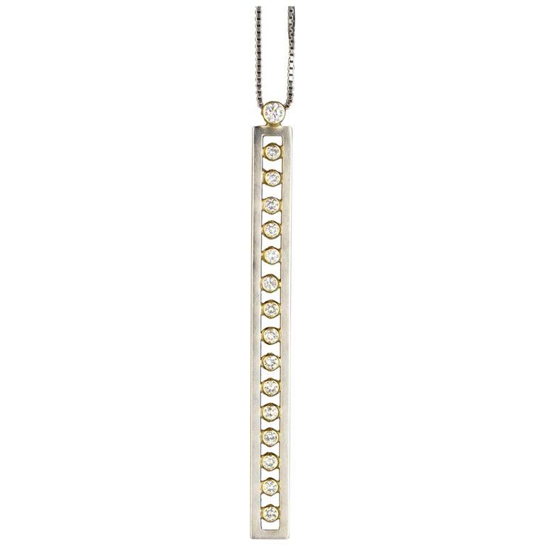 Janis Kerman, 18 Karat Gold and Diamond Bar Pendant, 18 Karat Gold, Diamond