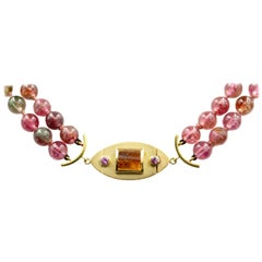 Janis Kerman, 18 Karat Gold Sapphire and Amber Necklace