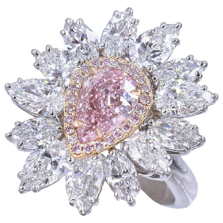 GIA Intense Pink Diamond Ring For Sale
