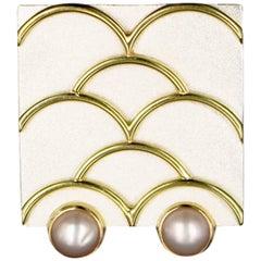 Janis Kerman, Sterling Silver and 18 Karat Gold Fresh Water Pearl Brooch