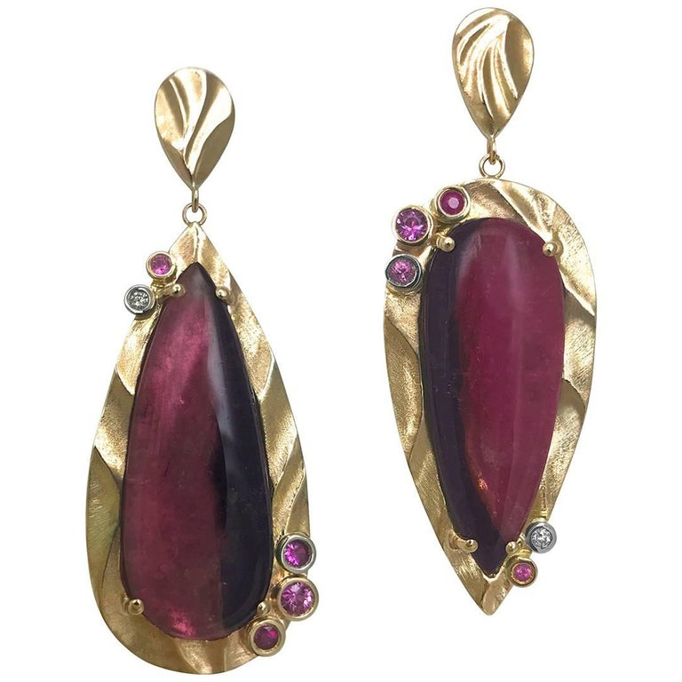 Pink Mystique Earrings Surrounded by 14k Gold with Bi-Color Pink Tourmaline