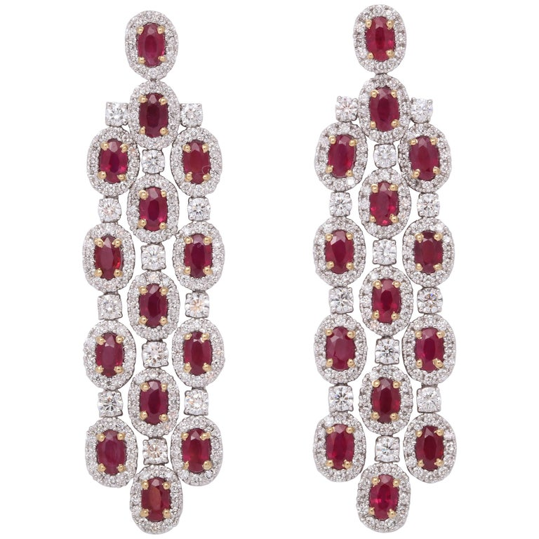 Ruby And Diamond Chandelier Earrings For