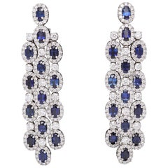 Blue Sapphire and Diamond Chandelier Earrings