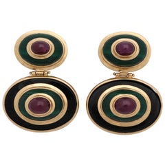 1980s Maz Jewelers Cabochon Ruby, Malachite and Onyx Gold Doorknocker Earrings