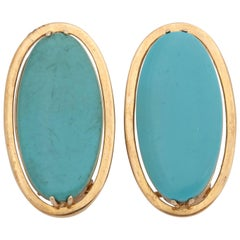 1960s Chic Large Sleeping Beauty Turquoise and Gold Oval Fancy Earclips