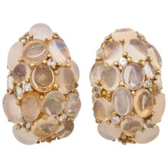 1980s Moonstone, Opal and Citrine with Diamonds Bombe Gold Earclips with Posts