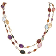1960s Multicolored Oval Stones Bezel Set Gold Link Chain with Clasp