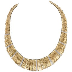 1980s Orlando Orlandini Handmade Multiple Loops Gold with Diamonds Necklace