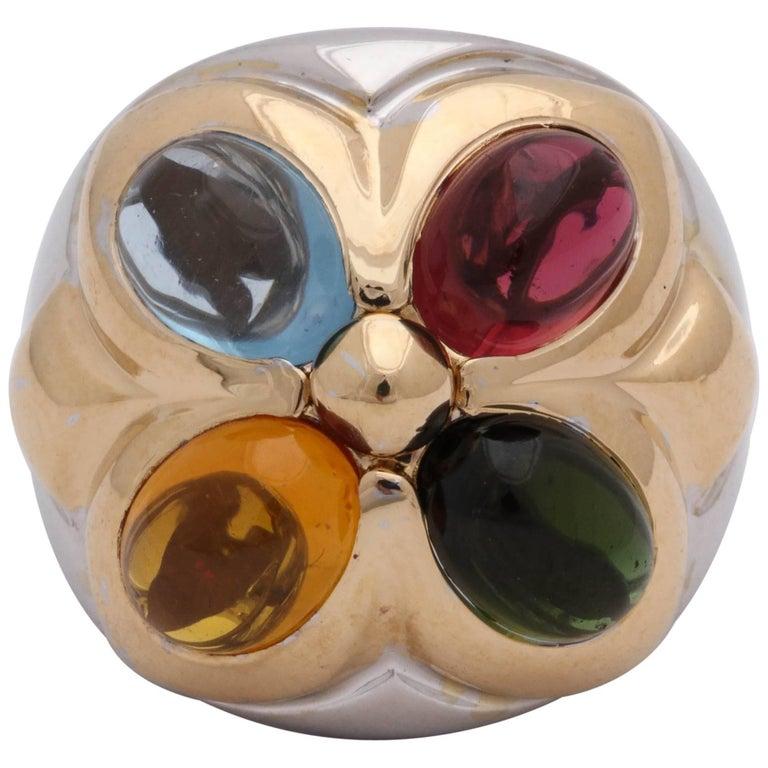 1980s Bvlgari Blue Topaz, Pink Tourmaline, Green Tourmaline, Citrine Gold Ring