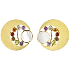 Janis Kerman, 18K Gold Cresent Moon Gem Stone Earrings, Iolite, Citrine, Topaz