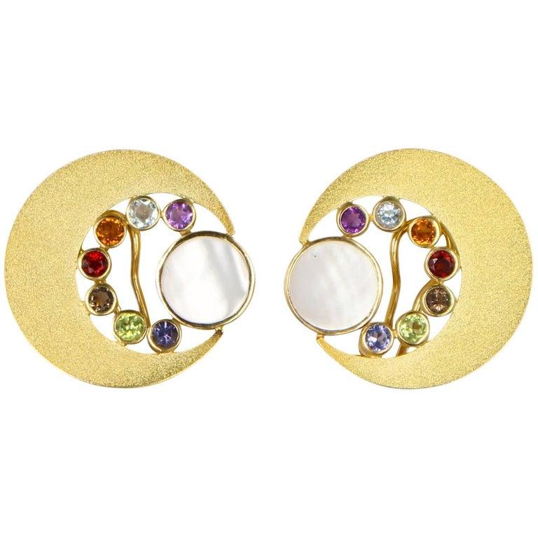 Janis Kerman, 18K Gold Cresent Moon Gem Stone Earrings, Iolite, Citrine, Topaz