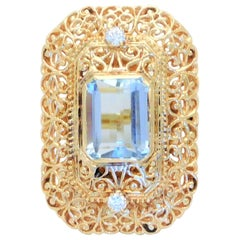 Midcentury 5.25 Carat Aquamarine and Diamond 14 Karat Gold Statement Ring
