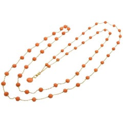 Victorian Coral and 14 Karat Gold Long Chain, circa 1900