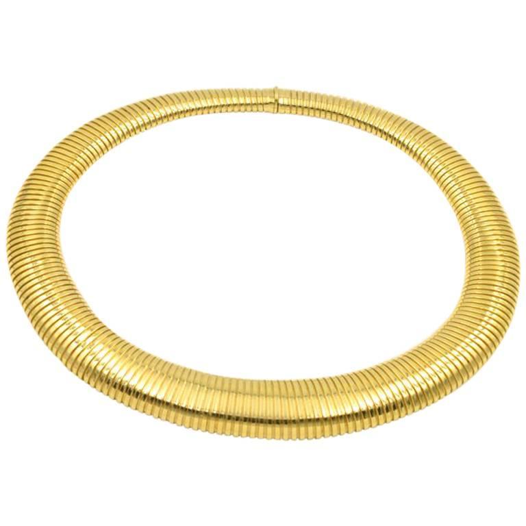 Vintage Tubogas Omega Chain 18 Karat Gold Choker Necklace