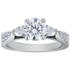 GIA Certified 1.00 Carat Round Diamond Three-Stone Engagement Ring