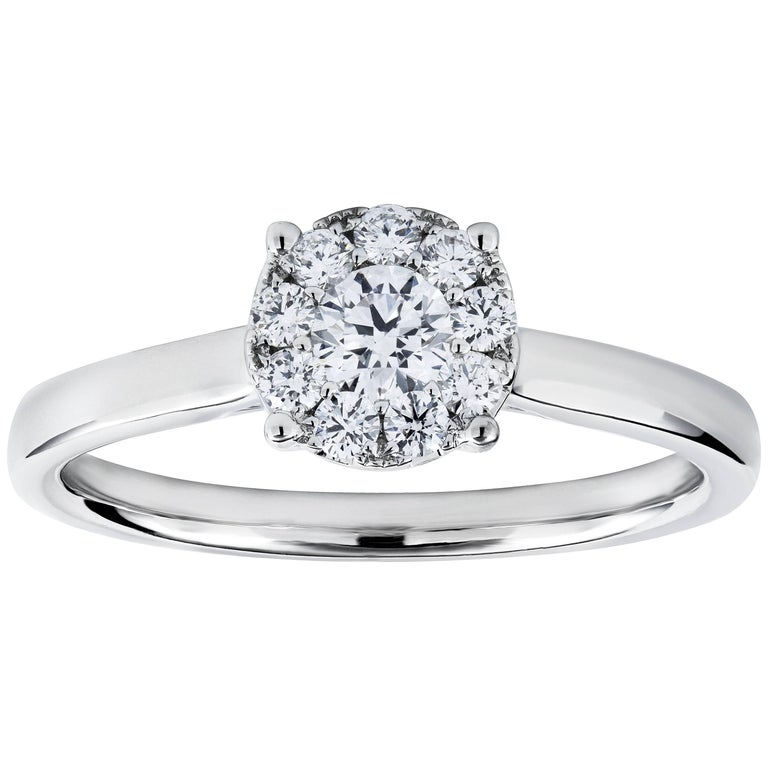 Round Diamond Cluster Engagement Ring in White Gold