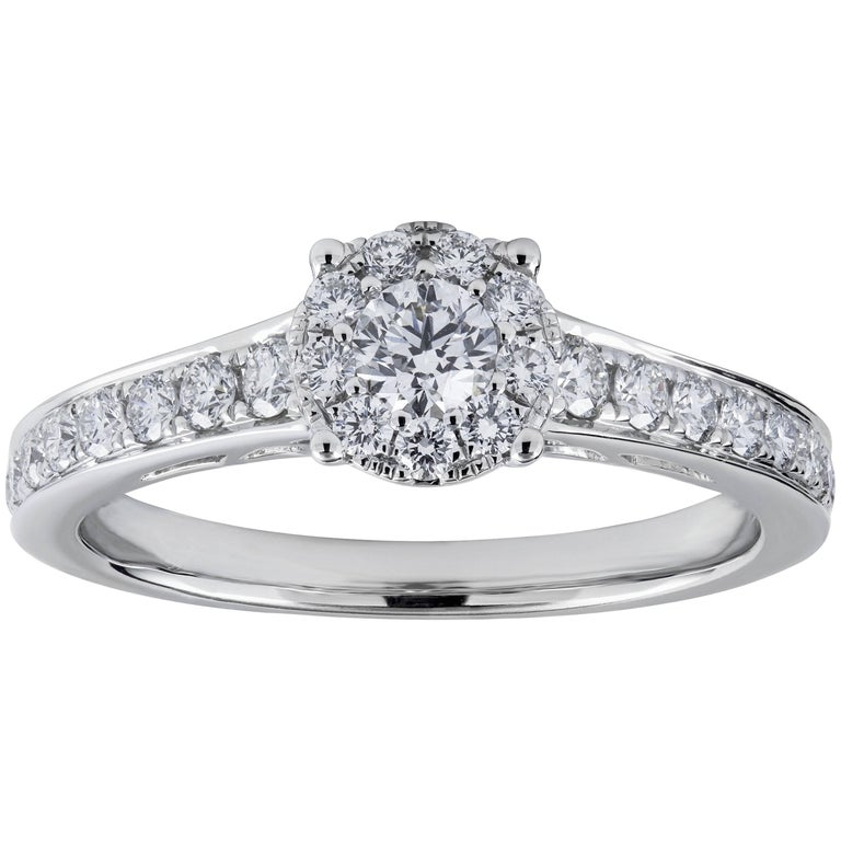 Round Cluster Diamond Engagement Ring in White Gold
