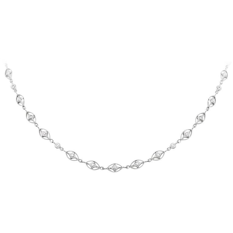 Four Point Star Diamonds by the Yard Necklace For Sale