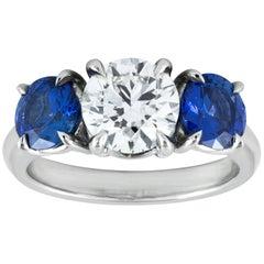 Three-Stone Sapphire and Diamond Engagement Ring