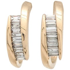14 Karat Yellow Gold .50 Carat Channel Set Baguette Diamond Hoop Earrings