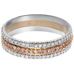 Three-Row Pink and White Diamond Wedding Band