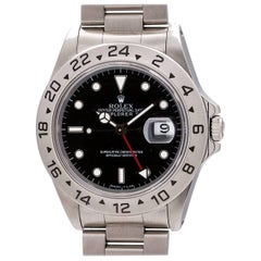Rolex Stainless Steel Explorer II Black Tritium Dial Wristwatch ref 16570, c1987