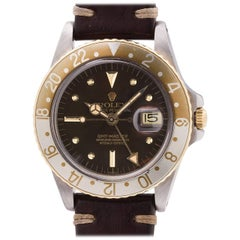Rolex Yellow Gold Stainless Steel GMT Rootbeer Self Winding Wristwatch, c1978
