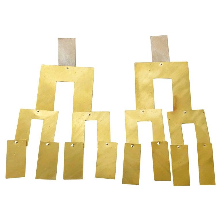Heidi Abrahamson Sterling Silver Brass Kinetic Earrings