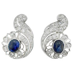 1940s Sapphire and Diamond Earrings
