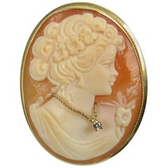 Victorian Hand-Carved Shell and Diamond Convertible Cameo Brooch