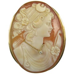 Victorian Hand-Carved Shell and Diamond Convertable Cameo Brooch