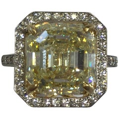 Yellow Asscher Cut Diamond Cocktail Ring