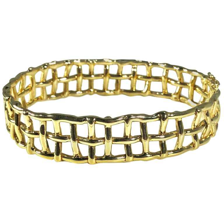 Daunis 14 Karat Yellow Gold Hinged Cuff Bracelet For Sale