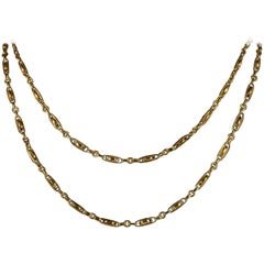Antique Victorian French Chain 18 Carat Gold Silver Sautoir Necklace, circa 1900