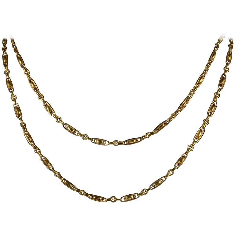 Antique Victorian French Chain 18 Carat Gold Silver Sautoir Necklace, circa 1900 For Sale
