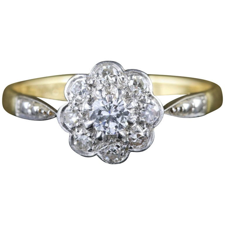 Antique Edwardian Diamond Cluster Ring Platinum 18 Carat Gold, circa 1915