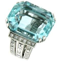 Designer Certified 42 Carat Aquamarine 2.79 Carat Diamond Gold Ring