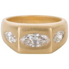 18 carat Brushed Yellow Gold Marquise Cut Hammer Set Diamond Ring