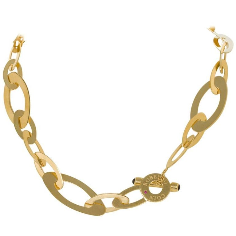 Roberto Coin 18 Karat Chic and Shine Collection Yellow Gold Oval Link Necklace