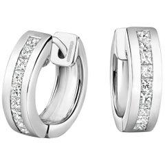 Tivon 18ct White Gold channel set princess cut Diamond hoop earrings