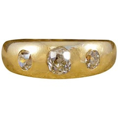 Victorian Diamond Three-Stone Gypsy Set 18 Carat Gold Ring