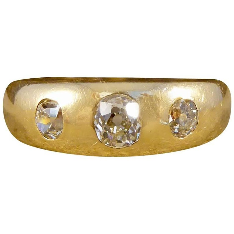 Victorian Diamond Three-Stone Gypsy Set 18 Carat Gold Ring
