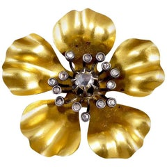 French Victorian Diamond Set Flower Brooch in 18 Carat Gold and Silver